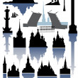 Saint-Petersburg and Moscow silhouettes collection - Stock Vector