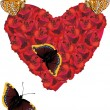 Royalty-Free Stock Vector Image: Red rose heartand four butterflies
