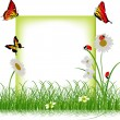 Frame with red insects in green grass — Stock Vector #24183013