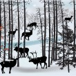 Deers in white winter landscape - Stockvektor