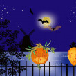Bats and pumpkins near windmill — Stock Vector