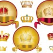 Set of isolated gold crowns — Stockvectorbeeld