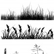 Four strips with grass silhouettes - Stok Vektör