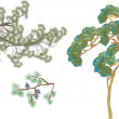 Set of pine tree green branches — 图库矢量图片
