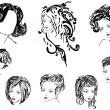 Stockvektor : Eight womhairstyles on white