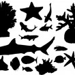 Sea animals silhouettes collection on white — Stock Vector
