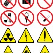 Stock Vector: Set of prohibitory and warning signs