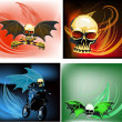 Stock Vector: Set of skull and wings compositions