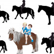Children on different horses illustration - Stock Vector