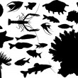 Set of sea animals silhouettes isolated on white — Stock Vector