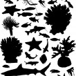 Collection of sea animals silhouettes isolated on white — Stock Vector