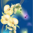 Yellow orchid branch on blue background — Grafika wektorowa