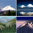 Stock Vector: Set of four mountains compositions