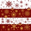 Red and gold snowflake bands - Stock Vector