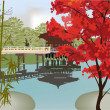 Pavilion in autumn park — Vector de stock