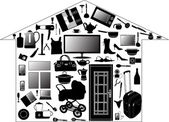 House from different home devices — Stok Vektör