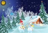 Snowmen in fir forest near house — Stock Vector