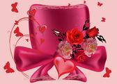 Composición con corazones rojos, rosas y mariposas — Vector de stock
