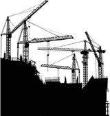 Five cranes at house building — Stock Vector