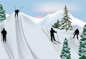 Narciarz sylwetki na śniegu — Wektor stockowy