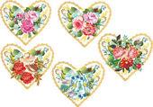 Cinco corazones de flores sobre fondo blanco — Vector de stock