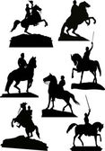 Set of horsemen monuments isolated on white — Stock Vector