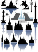 Saint-Petersburg and Moscow silhouettes collection — Stock Vector