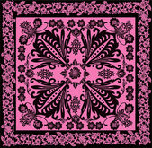 Pink and black square decorated pattern — Stock Vector