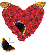 Red rose heartand four butterflies — 图库矢量图片