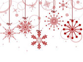 Christmas background with red snowflakes — Stock Vector