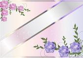 在帧的角落的粉红色和淡紫色花 — 图库矢量图片