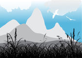 Flying gulls near mountains — Stock Vector