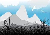 Flying gulls near mountains — Stock Vector