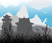 Pagoda in mountains and birds — Stock Vector
