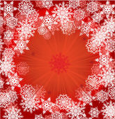 White snowflakes frame on red — Stock Vector