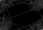 Spider web four corners on black — Stock Vector