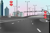 Empty highway in east city — Stock Vector
