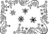 Weihnachten schwarz dekorative elemente mit schneeflocken — Stockvektor
