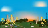 Green park near rainbow color city — Stock Vector