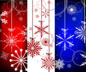 Three christmas snowflakes vertical bands — Stock Vector