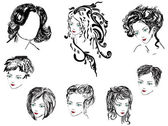 Eight woman hairstyles on white — Stock Vector