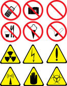 Set of prohibitory and warning signs — Stock Vector