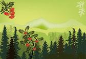 Rowan tree in green mountains — Stock Vector
