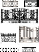 Black fences collection isolated on white — Stock Vector