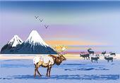 зимний пейзаж с оленей возле гор — Cтоковый вектор