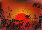 Spider web in autumn grass at sunset — Stock Vector
