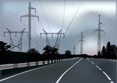 Electric lines above road — Stockvector