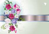 Pink and lilac flowers decoration with hearts — Stock Vector