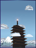 Pagoda in lofty mountains illustration — Stock Vector