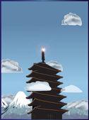 Pagoda in lofty mountains illustration — Vector de stock